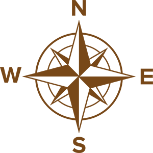 A compass showing North, South, East and West