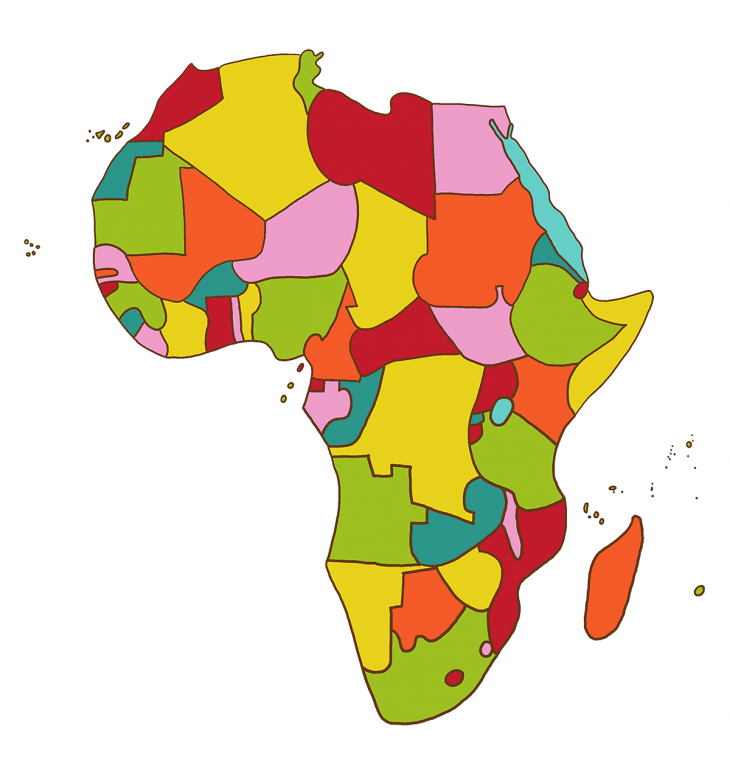 Africa showing countries in bright colors