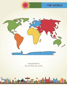 Draw the World last page full color map of the worl