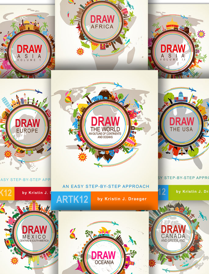 Draw the World books series by Kristin J. Draeger. Book covers.