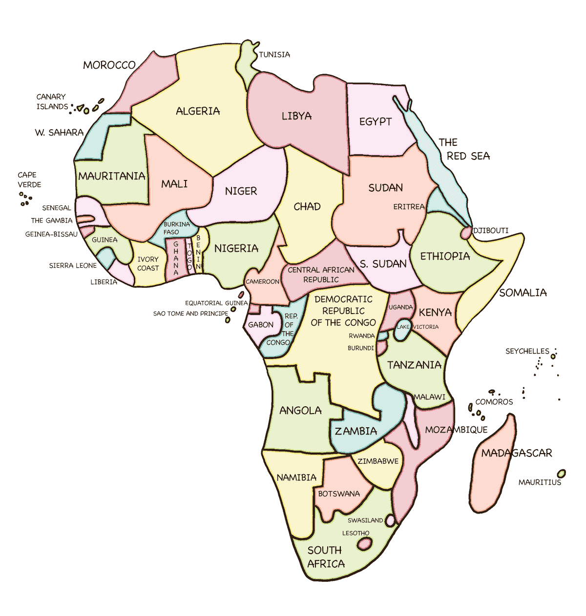 Africa with muted colors and country names