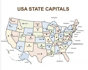 USA Bingo Map: USA Capitals